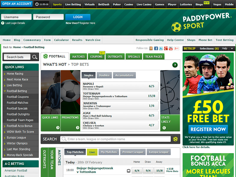 Paddy Power £50 Free Bet