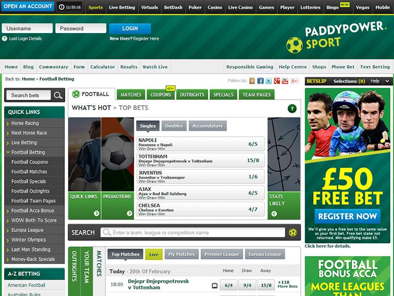 Paddy Power £50 Free Bet